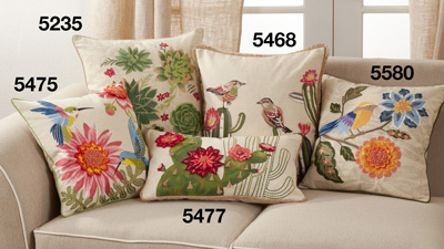 5468 Embroidered Cactus And Birds Pillow