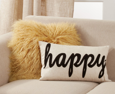 6274 Happy Embroidered Pillow