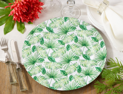 CH608 printed flower design charger plate