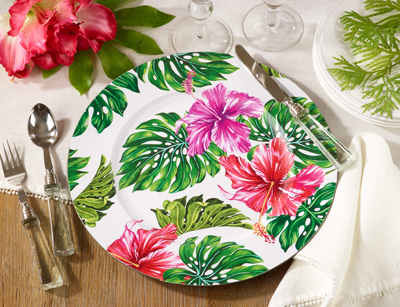 CH609 printed flower design charger plate