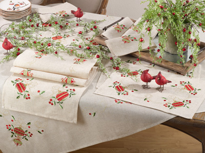 007 embroidered ornament tablecloth
