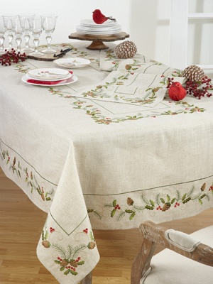 1851 embroidered pinecone and holly tablecloth