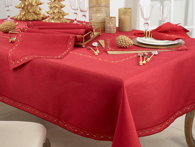 2212 Embroidered Holiday Tablecloth
