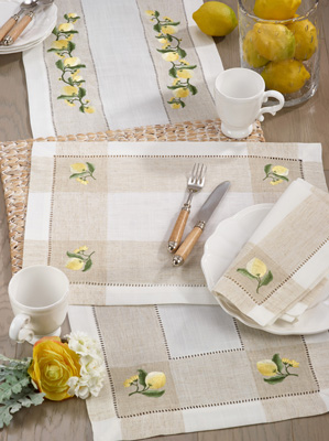 2232 Embroidered Lemon Hemstitch Placemat