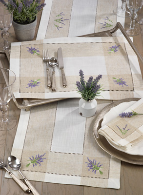 2234 Embroidered Lavender Hemstitch Placemat