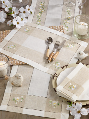 2235 Embroidered Magnolia Hemstitch Placemat