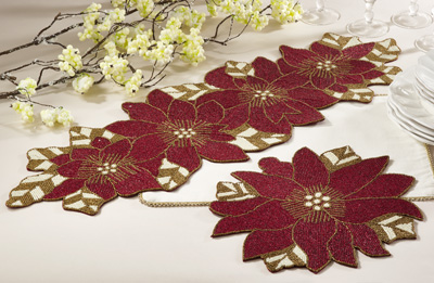 5823 beaded poinsettia placemats