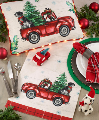 8996 Red Christmas Truck Runner