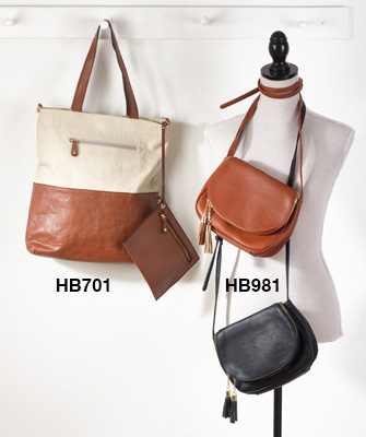 HB701 fabric and vegan leather satchel