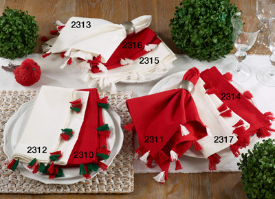 2311 red napkin with red and white tassels