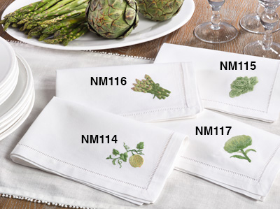 NM115 embr'd cabbage hemstitch napkin