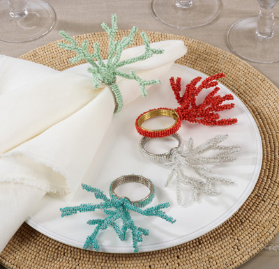 Nr227 Beaded Coral Napkin Ring