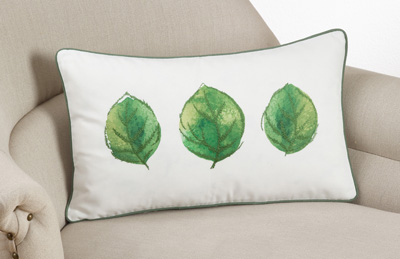172 printed + embroidered leaf pillow