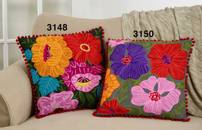 3150 Embroidered Flower Pillow