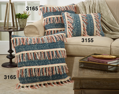 3165 Block Print Embroidered Pillow