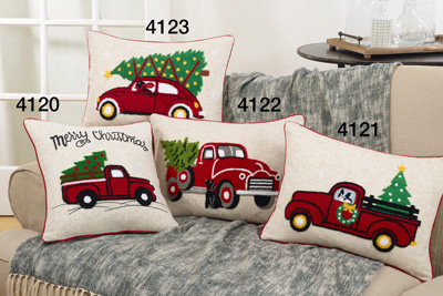 4123 vintage red car holiday pillow