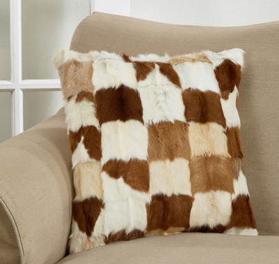 4655 Patchwork Goat Fur Pillow