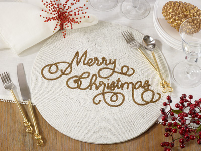 288 beaded merry christmas placemat