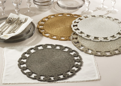 905 chain link design beaded placemats