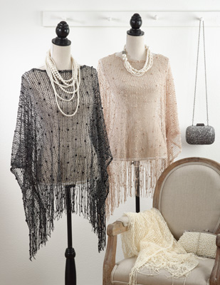 P622 netted design poncho