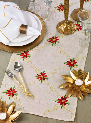 4505 Embroidered Poinsettia Runner