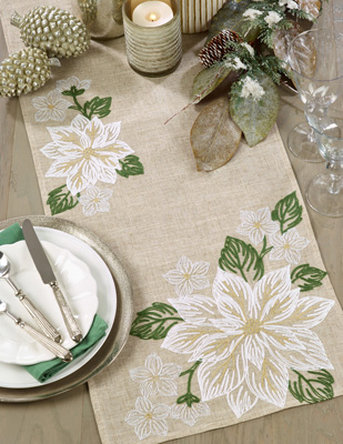 7426 Embroidered Poinsettia Runner
