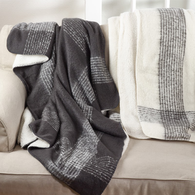 TH120 faux mohair sherpa throw