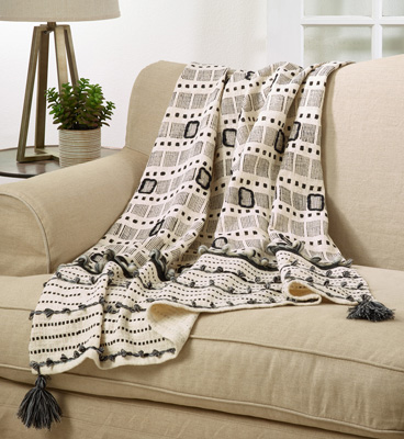 TH205 Block Print Embroidered Throw