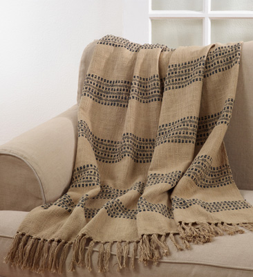 TH397 striped + tasseled throw
