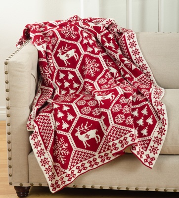 TH531 christmas design knitted throw