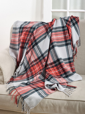 TH805 plaid tasseled throw