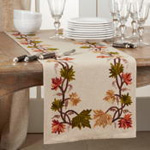 1067 Embroidered Fall Leaf Runner
