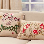 1129 Embroidered Bird + Branch Pillow