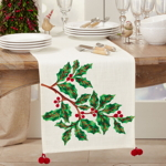 1152 Embroidered Holly Runner