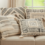 1293 Tufted Diamond Block Print Pillow