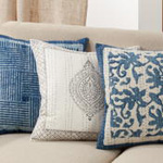 3210 Block Print Kantha Stitch Pillow