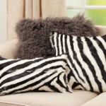 4657 Zebra Goat Fur Pillow