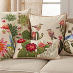 5235 Embroidered Succulents Pillow
