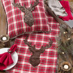 1026 plaid faux fur reindeer runner
