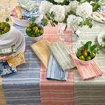 1224 block print stripe design napkin