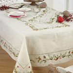 1851 embroidered pinecone and holly runner