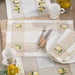 2232 embroidered lemon hemstitch runner