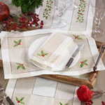 2237 embroidered holly hemstitch placemat
