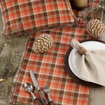 5030 Plaid Faux Fur Trim Runner