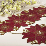5823 beaded pointsettia runner