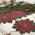 5825 beaded pointsettia placemats