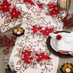 668 Plaid Poinsettia Runner