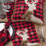 7758 plaid faux fur reindeer runner