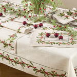 QX653 embroidered holly design napkin
