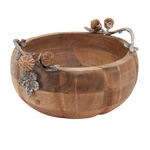 HA187 Wooden Bowl With Pumpkin Handles